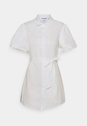 PUFF SLEEVE BELTED DRESS POPLIN - Shirt dress - white