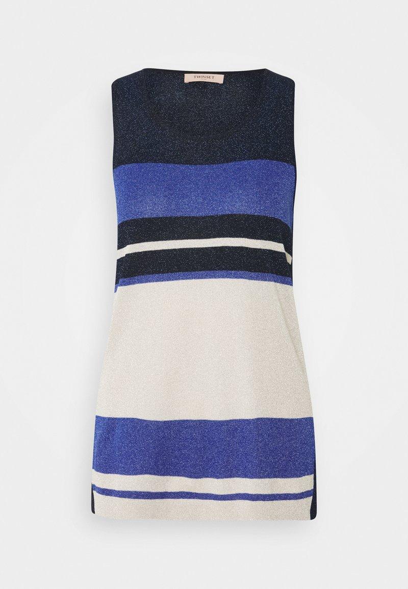 TWINSET - MAGLIA LUREX BLOCK - Top - blue\indaco
