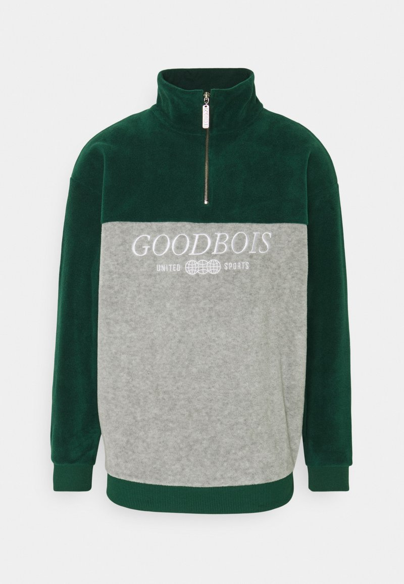 GOODBOIS - BLOCK HALFZIP - Fleecová mikina - forest/heather grey