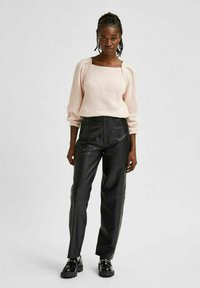 Selected Femme - Leather trousers - black - 3