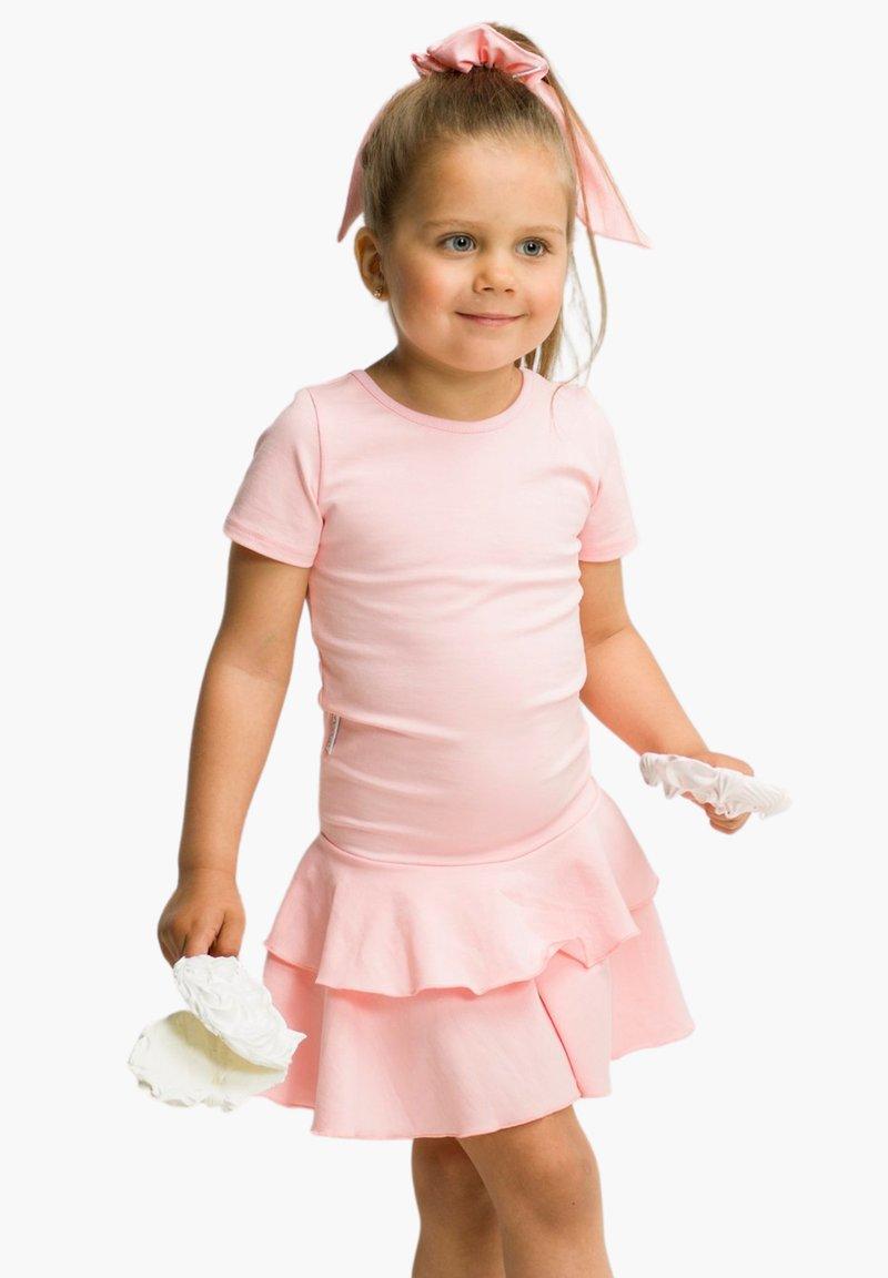 GUGGUU - T-SHIRT DRESS FRILLA - Day dress - romance pink