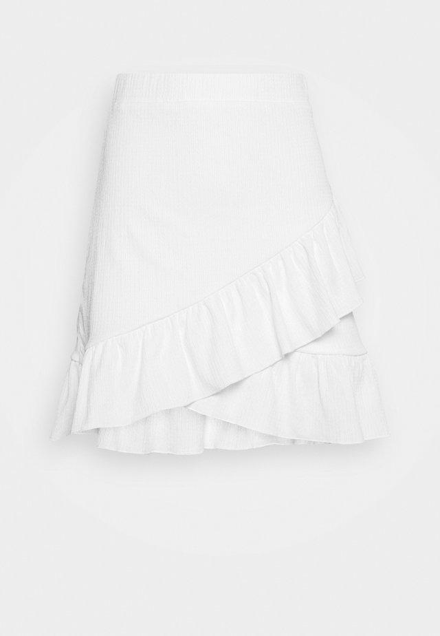 FRILL STRUCTURED SKIRT - Minihame - white