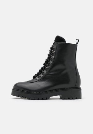 POPLIN - Lace-up ankle boots - black