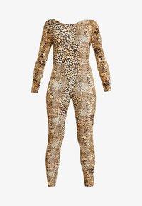 Missguided - HALLOWEEN LEOPARD PRINT SCOOP BACK - Jumpsuit - brown - 4