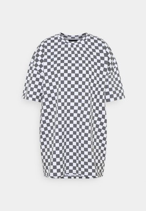 WHITE CHECKERBOARD TEE - Triko s potiskem - black/white