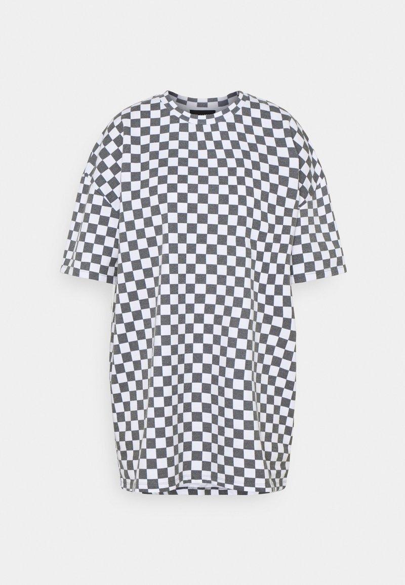 NEW girl ORDER - WHITE CHECKERBOARD TEE - Print T-shirt - black/white