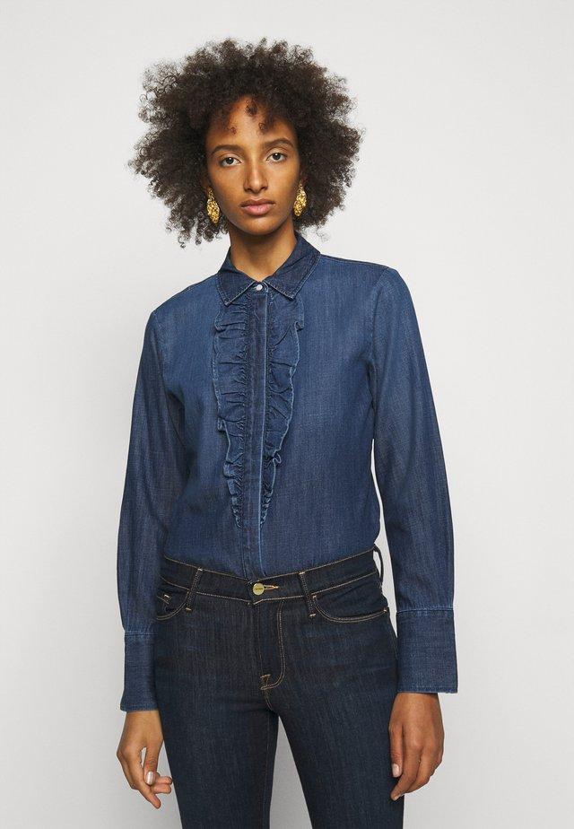 RUFFLE TUX TOP - Button-down blouse - frame blue