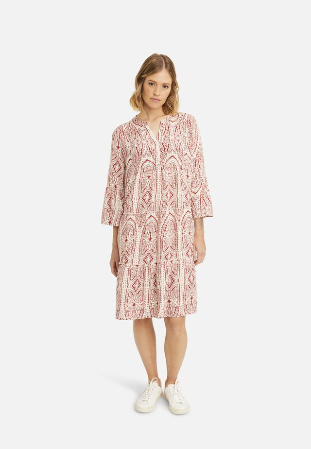 Shirt dress - burgundy print