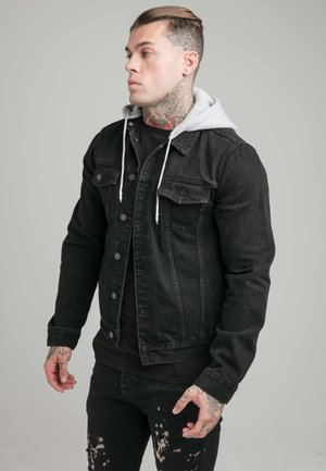 JACKET WITH DETACHABLE HOOD - Chaqueta vaquera - black