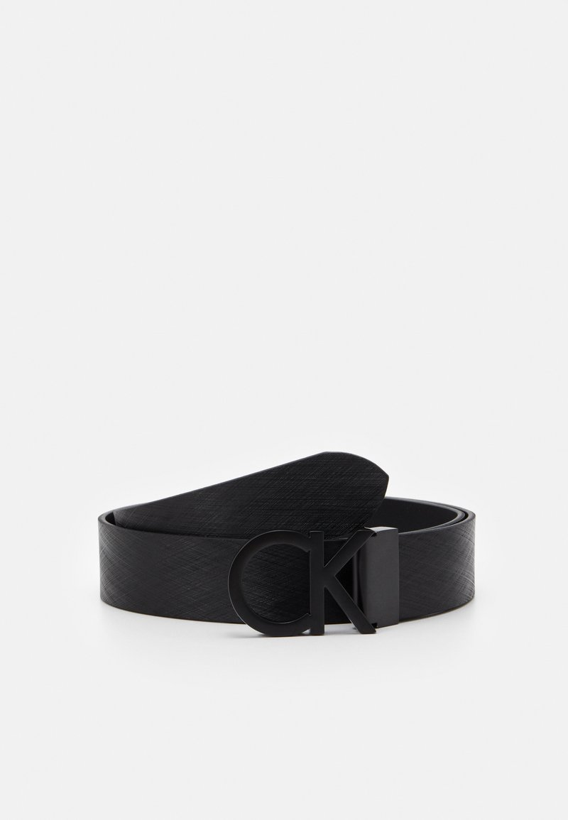 Calvin Klein - BUCKLE TEXTURED  - Belt - black