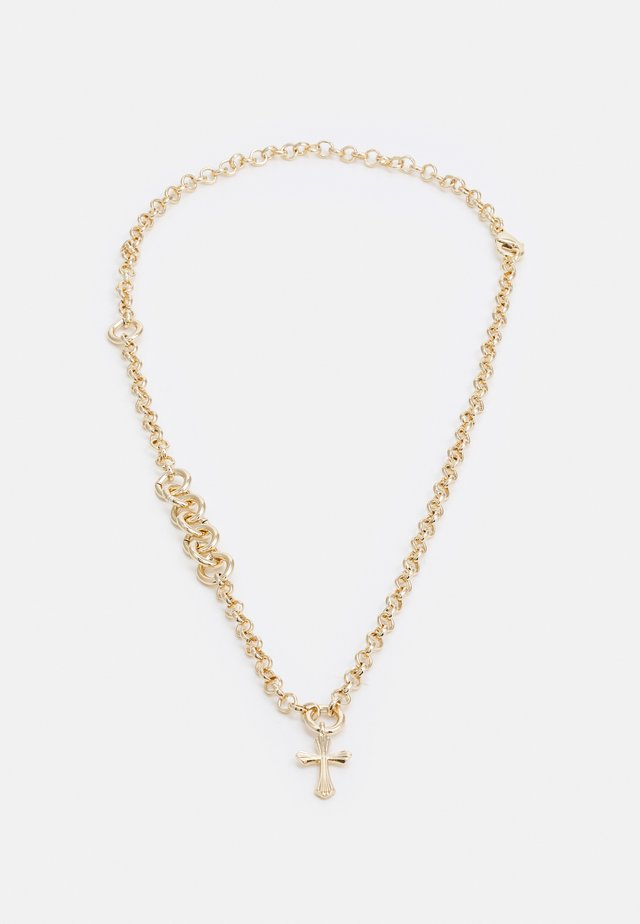 ASSYMETRIC CROSS DROP PENDANT - Collana - gold-coloured
