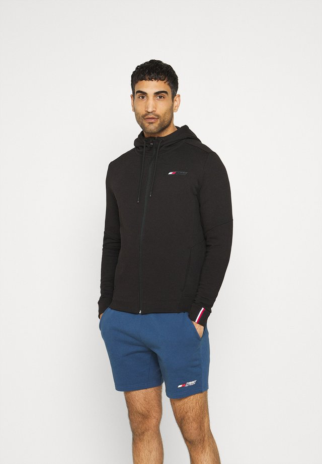 TERRY LOGO HOODY - veste en sweat zippée - black