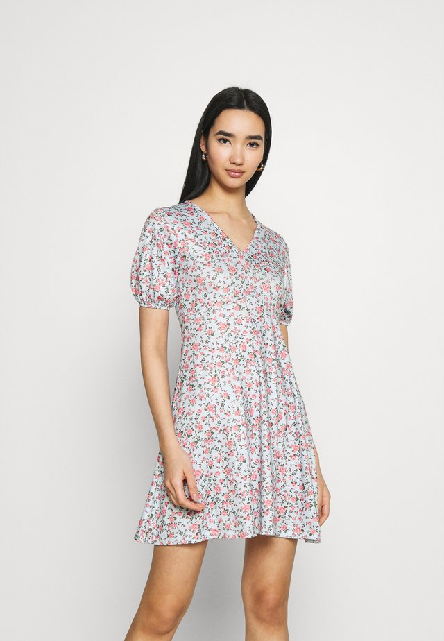 DITSY RUCHED PUFF SLEEVE SKATER DRESS - Jersey dress - blue