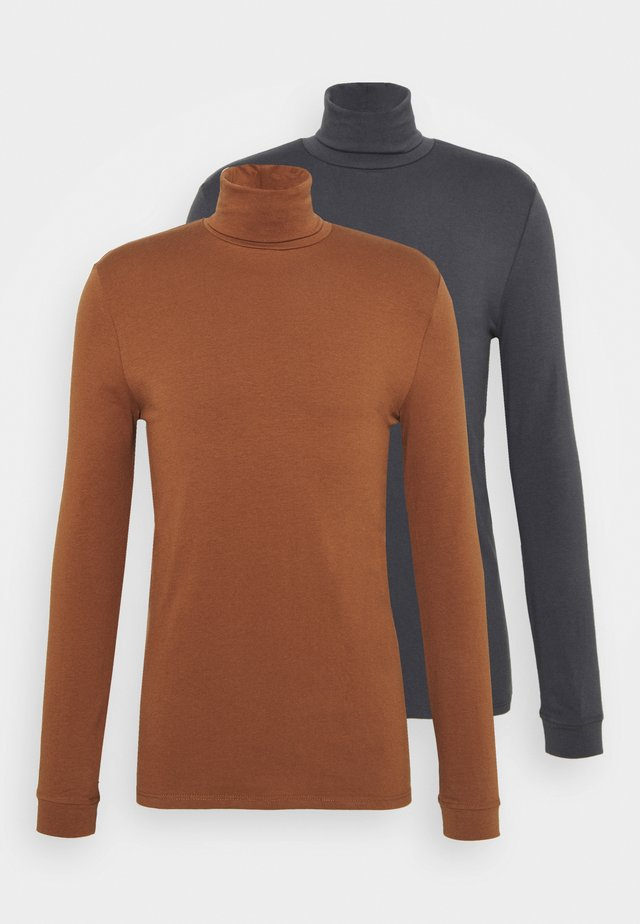 ROLL NECK 2 PACK - Longsleeve - grey/brown