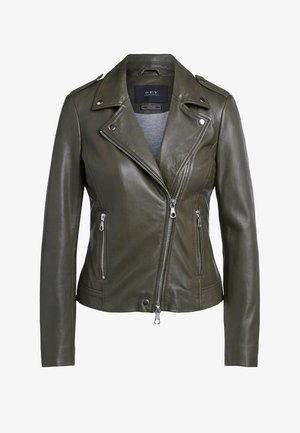 THE TYLER - Leather jacket - army green