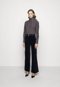 Victoria Beckham - RUFFLE - Button-down blouse - brown/navy - 1