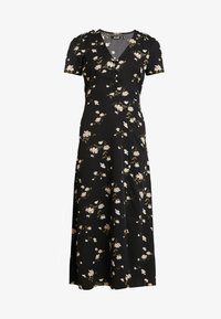 Missguided - BUTTON THROUGH SKATER DRESS MIDI FLORAL - Skjortekjole - black - 4