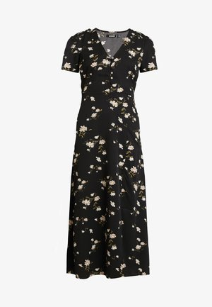 BUTTON THROUGH SKATER DRESS MIDI FLORAL - Skjortekjole - black