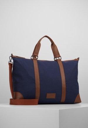 UNISEX - Weekend bag - dark blue/cognac