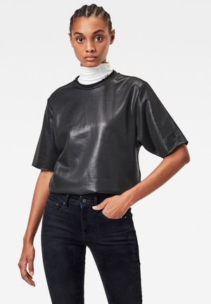 GLOSSY JASMAR ROUND SHORT SLEEVE - Sweater - dk black