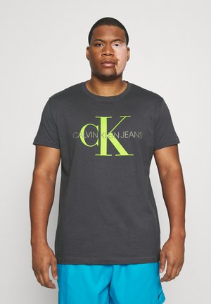 SEASONAL MONOGRAM TEE - Print T-shirt - gray pinstripe/acid lime