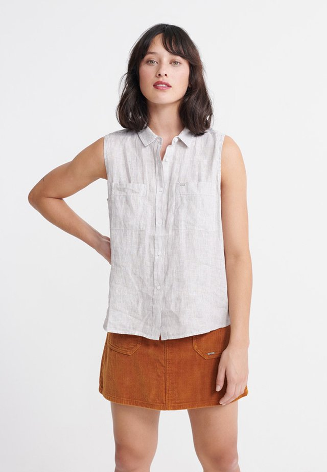 SUPERDRY AUBREY SHIRT - Button-down blouse - grey