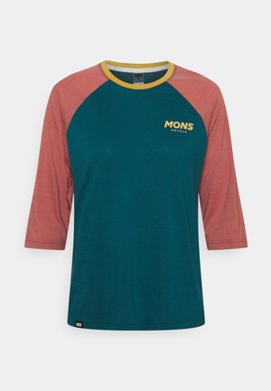 TARN FREERIDE RAGLAN 3/4 - Long sleeved top - deep teal/pink clay