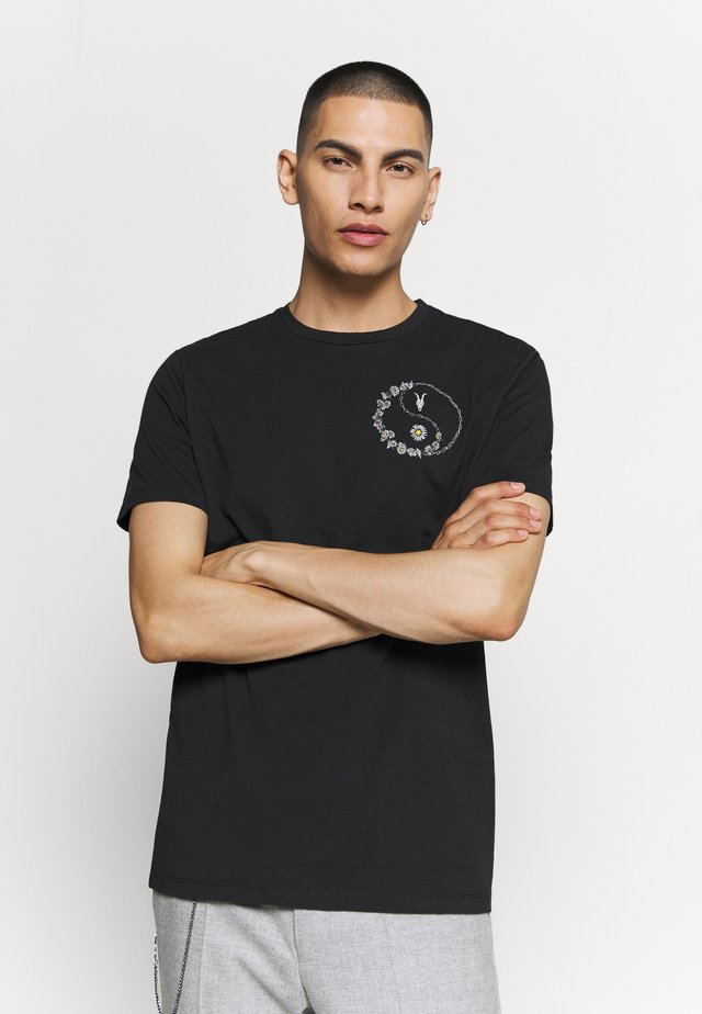DAISY CHAIN CREW - Camiseta estampada - black