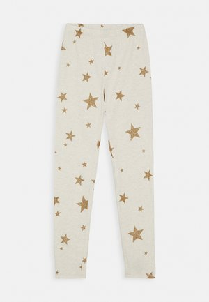 GIRL PRINT LEG - Leggings - Trousers - oatmeal/foil gold