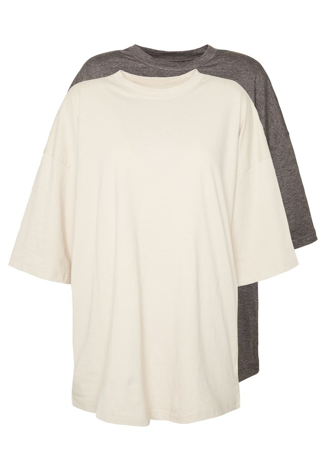 DROP SHOULDER OVERSIZED 2 PACK - T-shirts basic - sand/grey