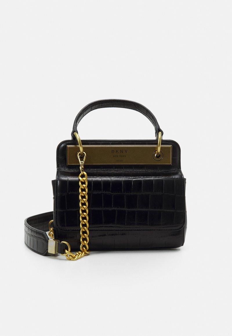 DKNY - COOPER FLAP XBODY CROCO - Handbag - black/gold-coloured