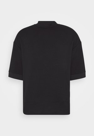 HIGH NECK OVERSIZED TEE - Basic T-shirt - black