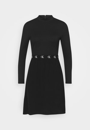 LOGO ELASTIC DRESS - Jersey dress - black