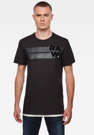 RAW. STRIPE GRAPHIC ROUND SHORT SLEEVE - Print T-shirt - dk black