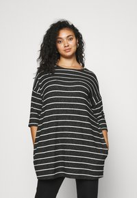 CAPSULE by Simply Be - SOFT TOUCH SIDE POCKET - Long sleeved top - charcoal - 0