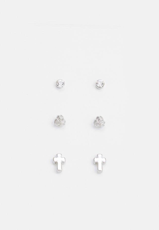 CROSS STUD MULTIPACK EARRINGS 3 PACK - Orecchini - silver-coloured