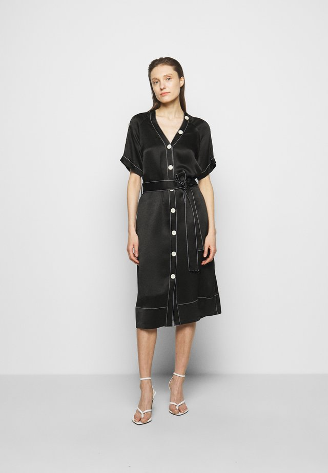 BELTED DOBBY CONVERTIBLE DRESS - Shirt dress - black