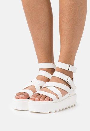 VEGAN CRIX CHUNKY FLATFORM  - Platform sandals - white