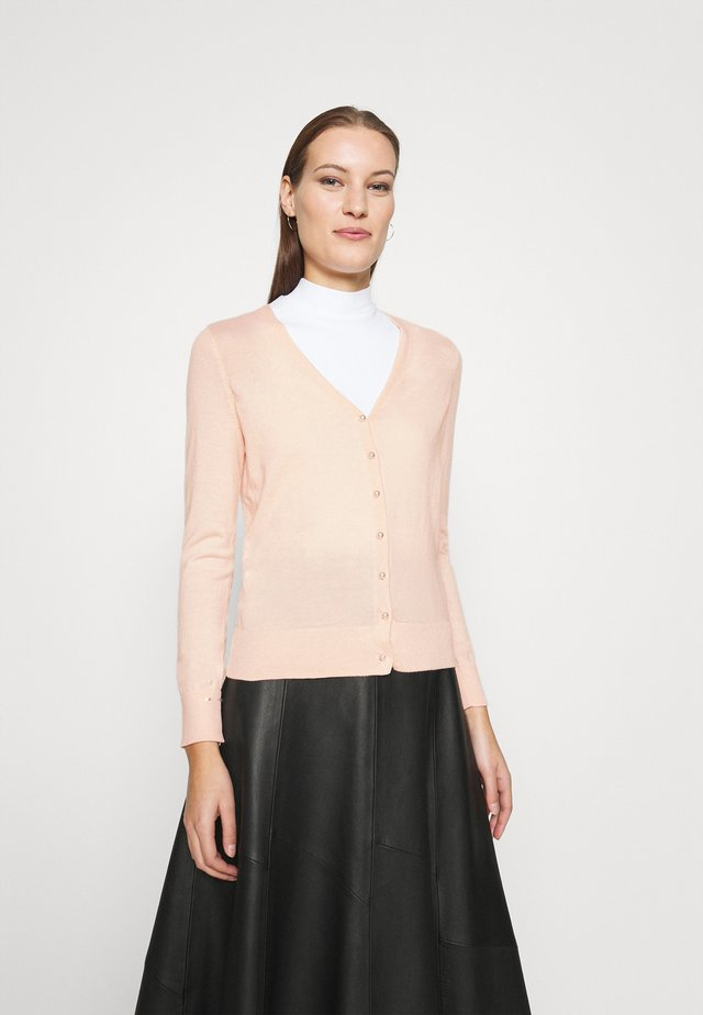 V NECK BUTTON CARDIGAN - Cardigan - blush