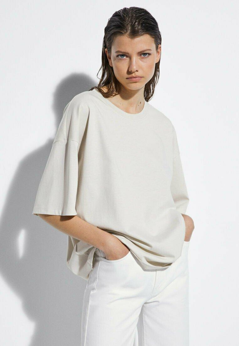 Massimo Dutti - T-shirt imprimé - beige