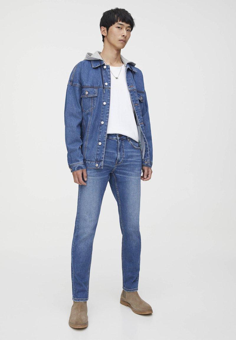 PULL&BEAR - Džíny Slim Fit - mottled dark blue