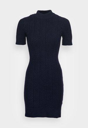 ETHAL MOCK NECK SHORT SLEEVE DRESS - Strikket kjole - navy