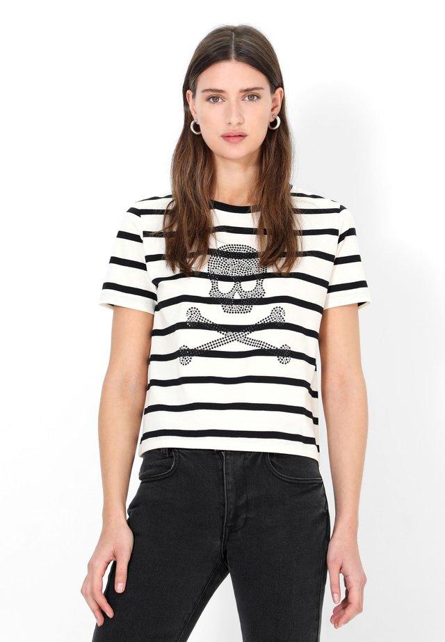 T-shirt con stampa - black stripes