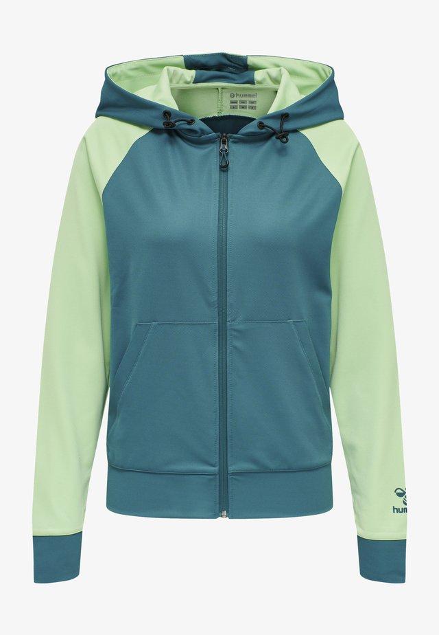 Zip-up hoodie - blue coral/green ash