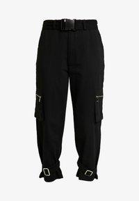 Missguided Petite - UTILITY POCKET BUCKLE TROUSERS - Pantalones - black - 4