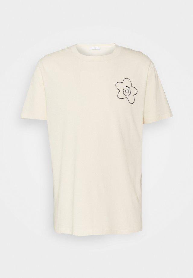 FLOWER TEE - Print T-shirt - ecru