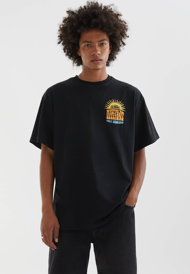 PULL&BEAR - Print T-shirt - mottled black