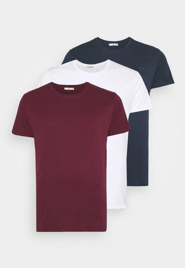 3 PACK - T-shirt basique - navy/ bordeaux/ white