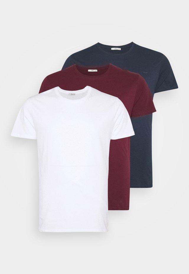 3 PACK - Basic T-shirt - navy/ bordeaux/ white