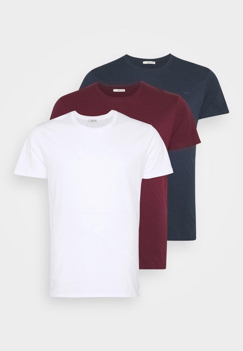 LTB - 3 PACK - Basic T-shirt - navy/ bordeaux/ white